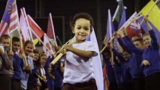 "Two-year-old Otis Bazie during the unveiling of the 2014 Commonwealth Games international route for Queen""s Baton Relay at the Emirates Arena in Glasgow."