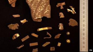 Some of the items from the Staffordshire Hoard