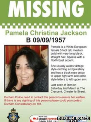Missing person poster of Pamela Jackson