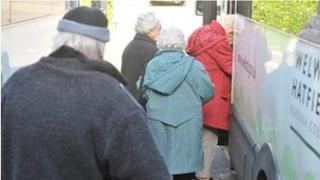 People leaving a day care centre