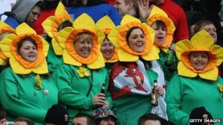 Wales fans show their support during the Six Nations match between Scotland and Wales at Murrayfield earlier in March