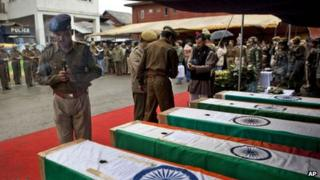 The coffins of security force personnel killed in Wednesday's militant attack in Srinagar
