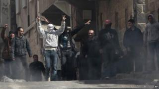 Anti-government protestors in Deraa, Syria, in March 2011