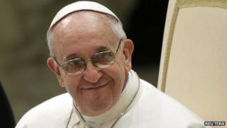 Pope Francis talks to media - 16 March