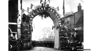 An arch of chairs built for Queen Victoria