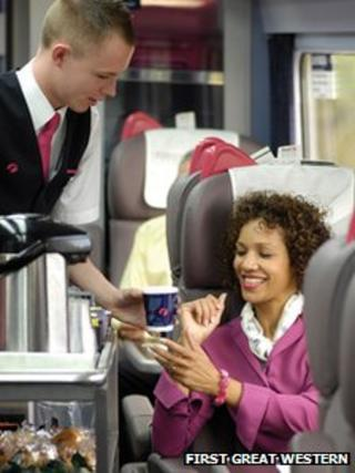 Ticket collector and passenger
