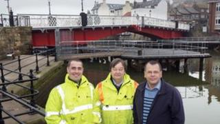 North Yorkshire County Council engineers Andrew Wood and John Smith with councillor Joe Plant