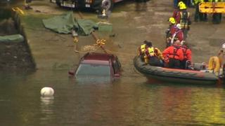 River Fal car plunge