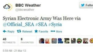 Screen grab of BBC Weather's Twitter feed
