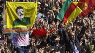 Some thousands of supporters demonstrate waving various PKK flags and images of jailed Kurdish rebel leader Abdullah Ocalan, in southeastern Turkish city of Diyarbakir