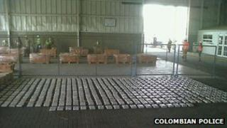 Packets of cocaine are lined up after a seizure in Cartagena, Colombia
