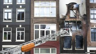 Amsterdam fire fighters attend a fire in the city centre