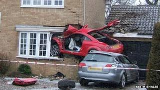 Audi embedded in Lowestoft home