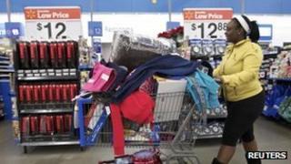 Shopper in a supermarket in Chicago