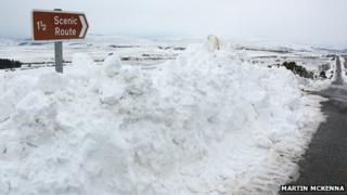Snow piled around sign