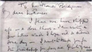 Part of a letter written by Capt Scott