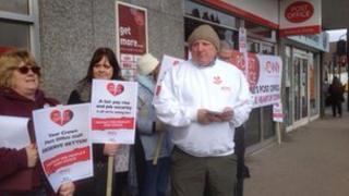 CWU members strike outside post office in Kings Heath Birmingham