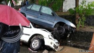 Wrecked cars in Port Louis - 30 March