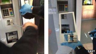 A false front to a travel ticket machine