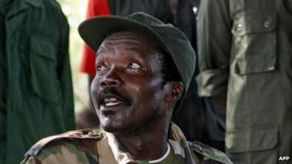 """A file photo taken on November 12, 2006, shows the leader of the Lord""""s Resistance Army (LRA), Joseph Kony, answering journalists"""" questions"""