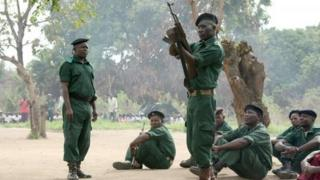 Taken in Mozambique's's Gorongosa's mountains in November 2012 - fighters of former rebel movement Renamo receive military training