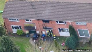 Scene of the fire at Lee Close in Honiton
