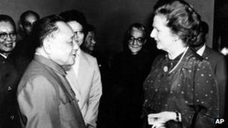 This is a 24 September 1982 file photo of China's chairman of the Communist Party, Deng Xiaoping, as he meets with Britains' Prime Minister Margaret Thatcher in Beijing, China