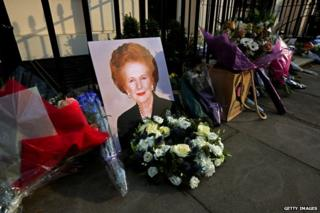 Floral tribute to Margaret Thatcher