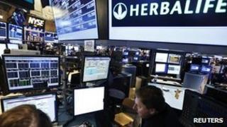 Herbalife logo at NY stock exchange