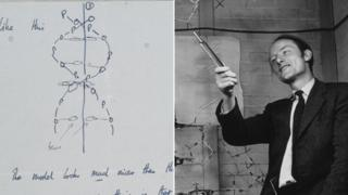 Francis Crick and sketch of the DNA structure