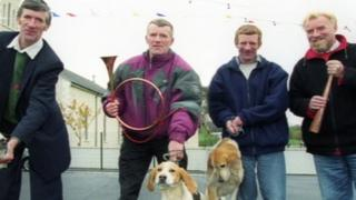 John McDermott (second left), pictured with his brothers, admitted sex offences against eight people