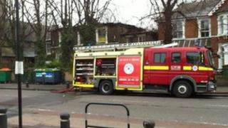 Fire engine outside the house which was on fire