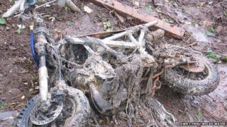 Bike down in Dwr Cymru Welsh Water sewer