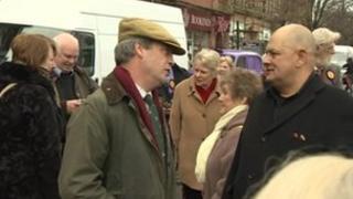 Nigel Farage and UKIP activists in Carlisle