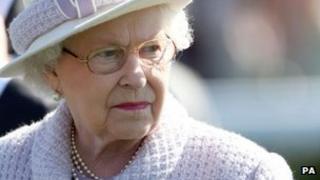 The Queen at Newbury Racecourse, in Berkshire, on Saturday