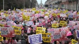 More than 25,000 people have attended an anti-abortion rally in Dublin.