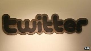 Twitter logo at the company's headquarters in San Francisco