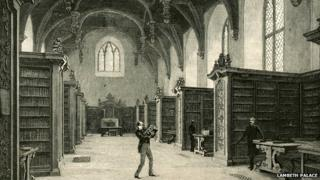 Image from weekly illustrated newspaper The Graphic, from 1886, showing a librarian in the library in Lambeth Palace's Great Hall