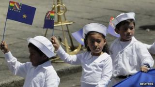Bolivian children take part in the Day of the Sea celebrations in March 2013