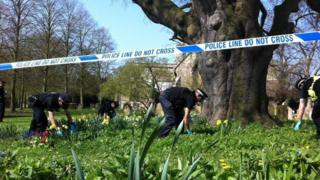 Police search grounds at St Mary's Church, Aylesbury