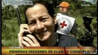 Telesur screen grab of Clara Rojas was released