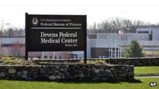 The entrance of the Devens Federal Medical Center in Devens, Massachusetts on 26 April 2013