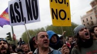 "Anti-austerity protestors took to the streets of Madrid again last week to proclaim, ""not this way"""