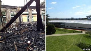 Lytchett Minster Upper School's creative arts block following a fire in December and its new temporary centre