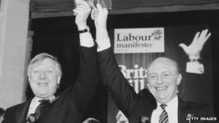 Roy Hattersley and Neil Kinnock in 1987