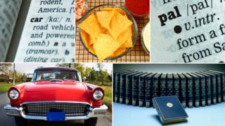 """Composite of dictionary terms referred to in piece: car (dictionary definition and picture); bowl of nachos; the word """"pal"""", and a set of volumes from the OED"""