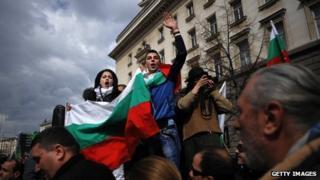 Protesters in Sofia in February 2013
