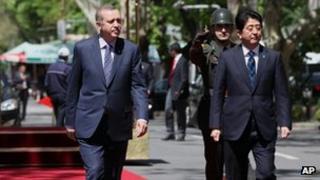Recep Tayyip Erdogan and Shinzo Abe in Turkey