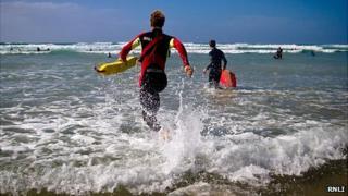 RNLI lifeguard on duty in Jersey