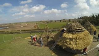 Three Neolithic huts completed at Old Sarum, Wiltshire